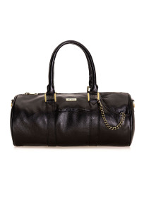 Duffel bag in leather, ideal as everyday handbag or small sports bag.