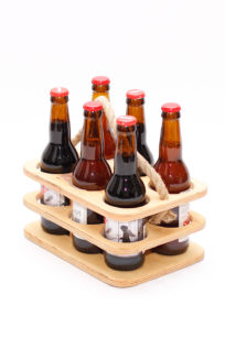 Wooden beer bottle holder, 6 back