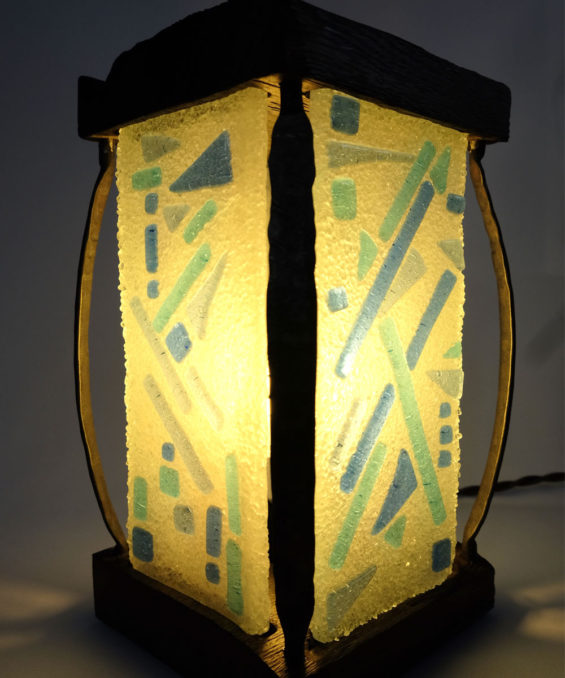 Handmade Glass & Wood Lantern Table Lamp by wrought iron details