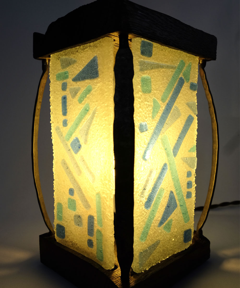 Attractive Handmade Glass & Wood Lantern Table Lamp by wrought iron details  HT31